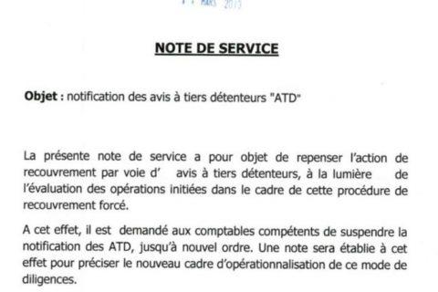 Note de service DGI : Suspension provisoire des ATD